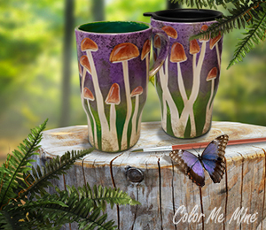 Color Me Mine Mushroom Mugs