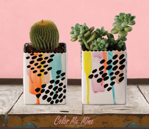 Color Me Mine Drippy Square Planters