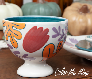 Color Me Mine Floral Pedestal Bowl