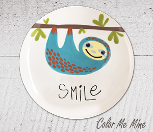 Color Me Mine Sloth Smile Plate