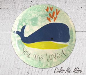 Color Me Mine Whale Love Plate