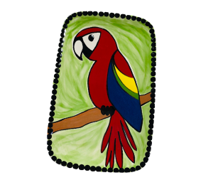 Color Me Mine Scarlet Macaw Plate